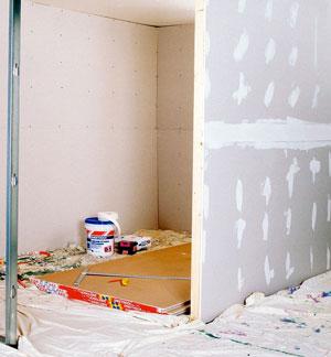 basement drywall installation with fibatape mold x 10 tape over steel