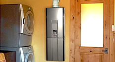 rinnai rl75i tankless water heater installed in a home